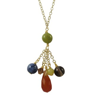 Luxiro Gold Finish Semi-precious Gemstone and Preciosa Bead Tassel Necklace