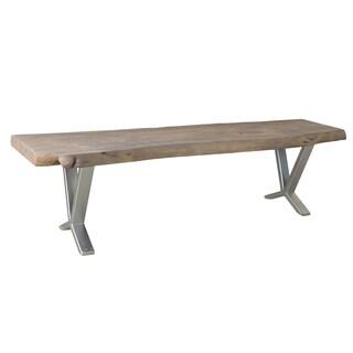 Signature Live Edge Acacia Wood and Iron Bench