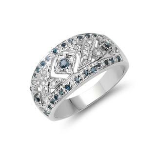 Malaika Sterling Silver 1/4ct TDW Blue Diamond Ring (I-J, I2-I3)