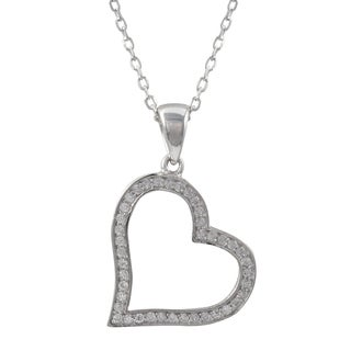 Luxiro Sterling Silver Micropave Cubic Zirconia Open Heart Pendant Necklace