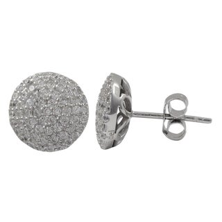 Luxiro Sterling Silver Micropave Cubic Zirconia Circle Stud Earrings