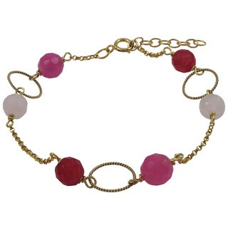 Luxiro Gold Filled Pink Semi-precious Gemstone Children's Bracelet