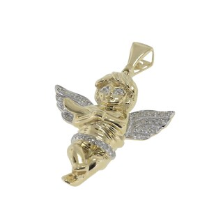 Sterling Silver 1/5ct TDW Diamond Angel Pendant