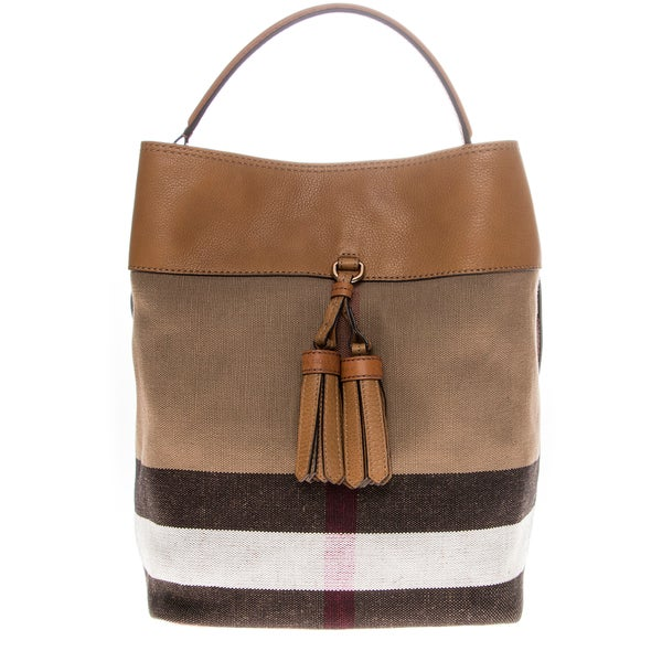 Burberry Medium Ashby Canvas Check and Leather Shoulder Bag