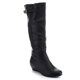 LILIANA DA63 Women's Wedges Buckle Strap Low Heel Slouchy Knee High Riding Boots