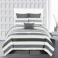 Darby Striped Quilted Oversized/ Overfilled 7-piece Comforter Set