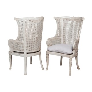 Caned Ice Grey Wing Back Chair (Set of 2)