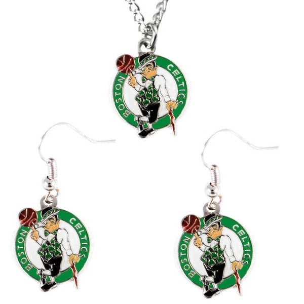 NBA Boston Celtics Necklace and Dangle Earring Charm Set