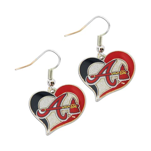 Atlanta Braves Sports Team Dangle Logo Swirl Heart Earring