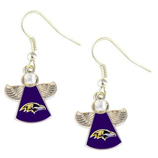 NFL Baltimore Ravens Charm Gift Crystal Angel Wings Dangle Logo Earring Set