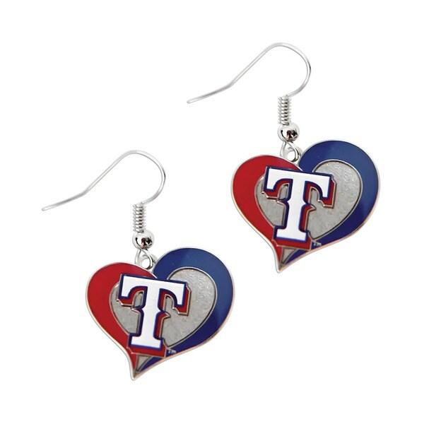 MLB Texas Rangers Charm Gift Designs Swirl Heart Shape Dangle Logo Earring Set
