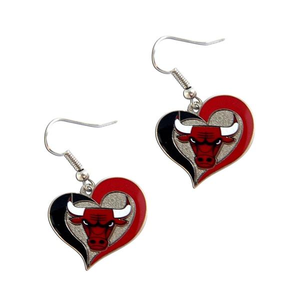 NBA Chicago Bulls Charm Gift Swirl Heart Shape Dangle Logo Earring Set