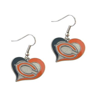NFL Chicago Bears Charm Gift Swirl Heart Shape Dangle Logo Earring Set