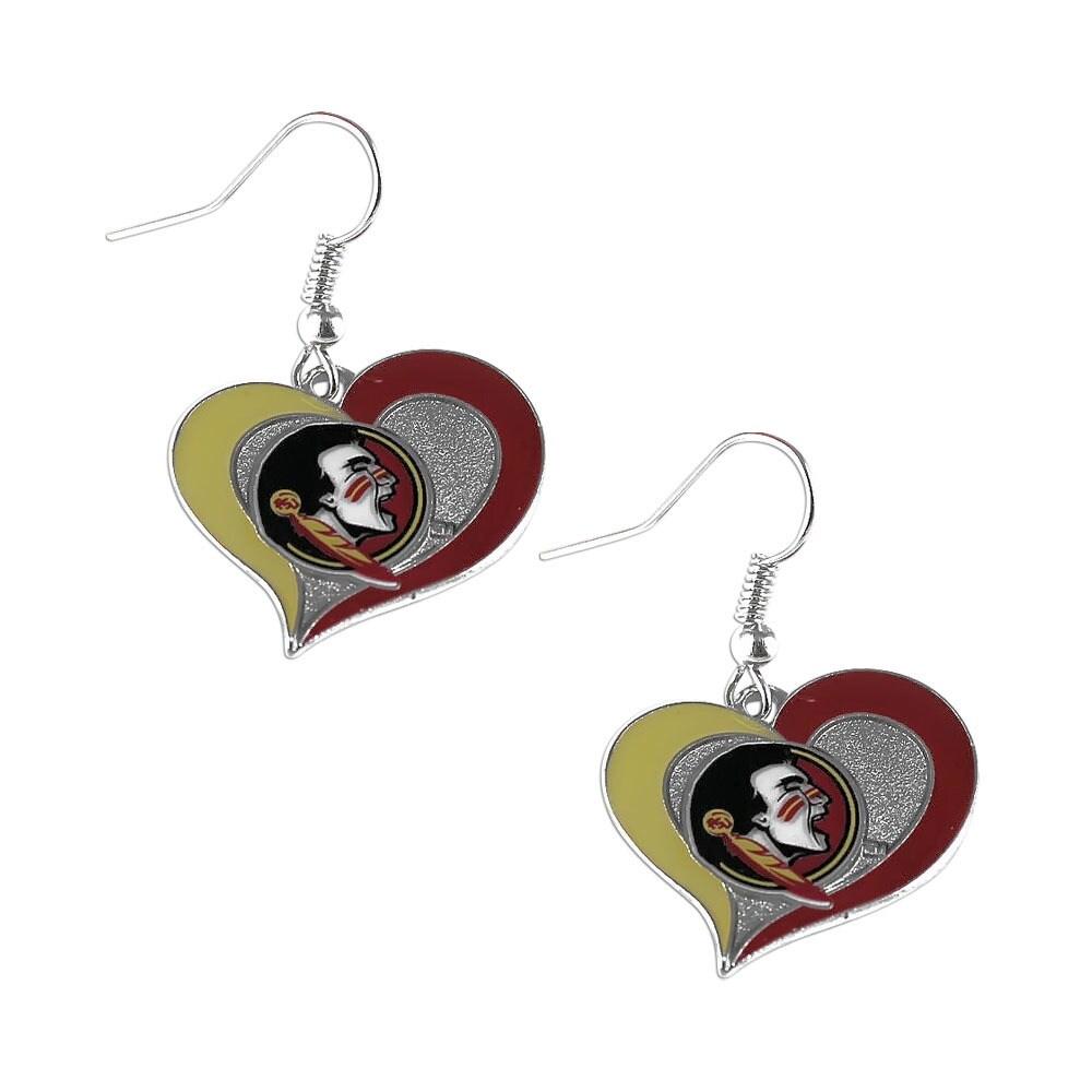 NCAA Florida State Seminoles Sports Collegiate Team Logo Swirl Heart Shape Dangle Earring Set