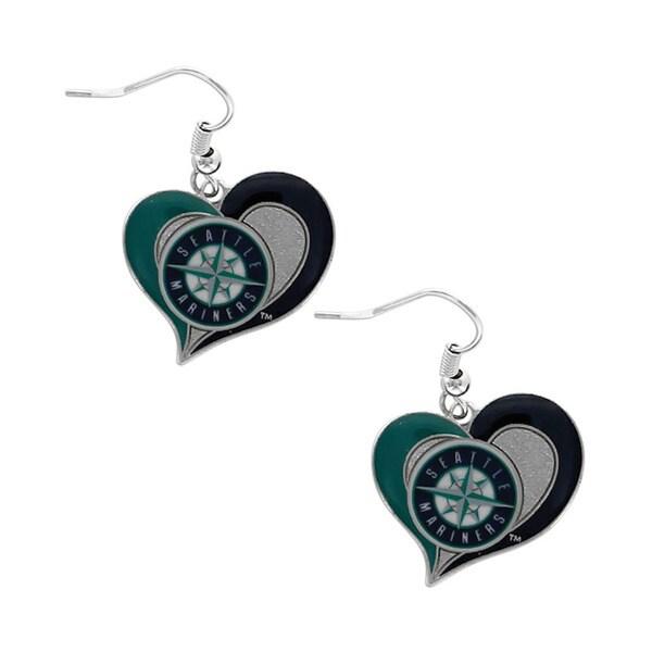 MLB Seattle Mariners Swirl Heart Team Logo Dangle Earrings