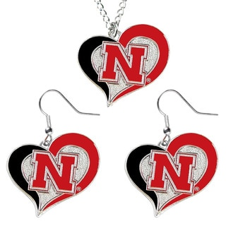 NCAA Charm Gift Nebraska Cornhuskers Swirl Heart Dangle Earring and Necklace Set