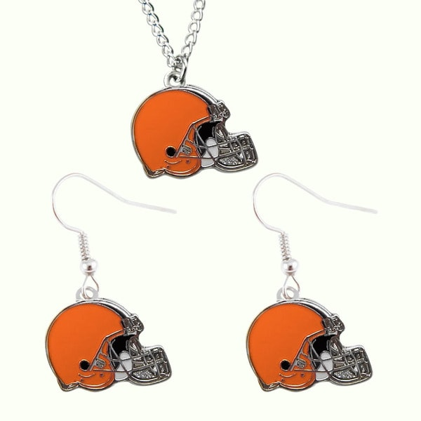NFL Charm Gift Cleveland Browns Dangle Earring and Necklace Set