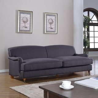 Mid Century Grey Modern Sophisticated Large Linen Fabric Sofa with Casters
