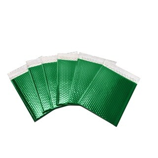 1000-piece Green Metallic Glamour Bubble Mailers Envelope Bags (7 inches wide x 6.75 inches long)