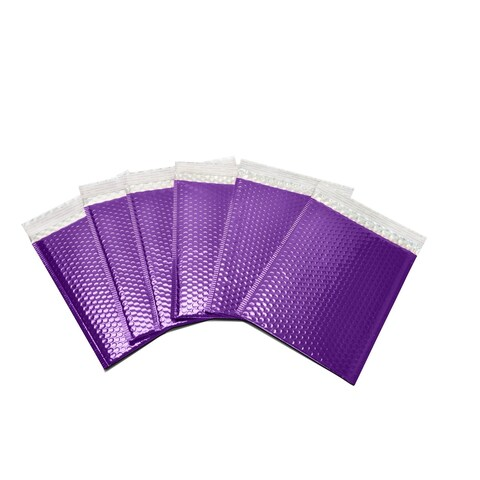 """250-piece Purple Metallic Glamour Bubble Mailers Envelope Bags (7.5 inches wide x 11 inches long) - 7.5""""l x 11""""w"""