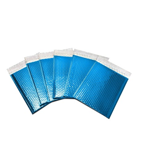 1000-piece Blue Metallic Glamour Bubble Mailers Envelope Bags (7.5 inches wide x 11 inches long)
