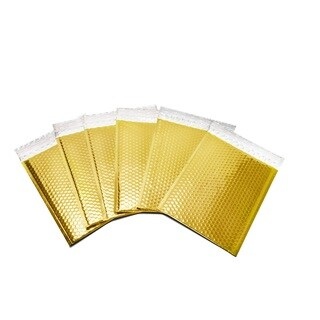 500-piece Gold Metallic Glamour Bubble Mailers Shipping Envelope Bagss (7.5 inches wide x 11 inches long)