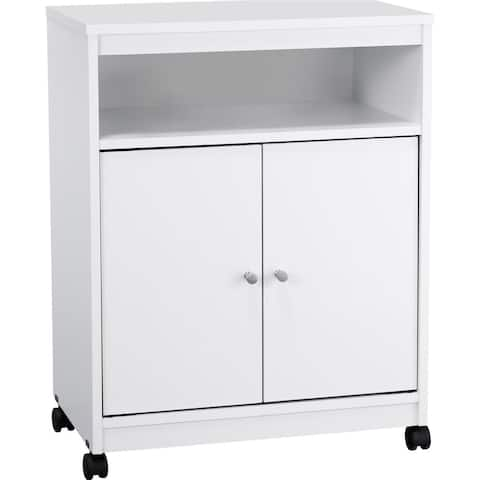 Ameriwood Home White Kitchen Microwave Cart