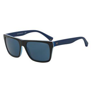 Emporio Armani Men's EA4048 Black Plastic Square Sunglasses