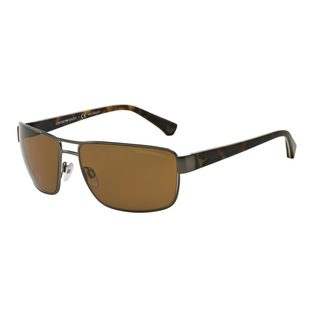 Emporio Armani Men's EA2031 Silver Metal Rectangle Polarized Sunglasses
