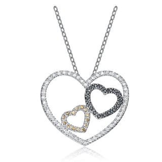 Collette Z Sterling Silver Black and Yellow Cubic Zirconia Pendant