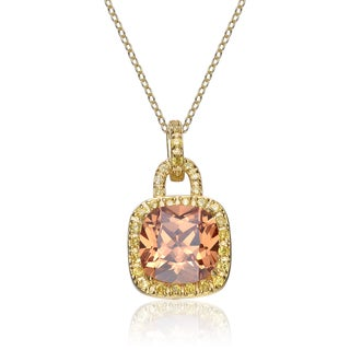 Collette Z Sterling Silver Cubic Zirconia Gold Plating Clear and Burnt Amber Cubic Zirconia Dangling Pendant Necklace