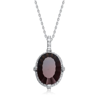 Collette Z Sterling Silver Cubic Zirconia and Deep Burgundy Cubic Zirconia Dangling Pendant Necklace