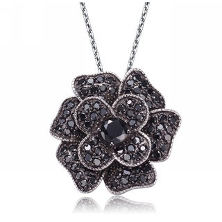 Collette Z Sterling Silver Cubic Zirconia and Black Cubic Zirconia Dangling Pendant Necklace