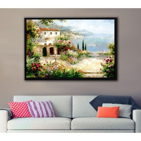 ArtWall Peter Bell's Mediterranean Villa, Gallery Wrapped Floater-framed Canvas