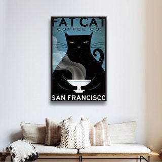 ArtWall Ryan Fowler's Cat Coffee, Gallery Wrapped Floater-framed Canvas