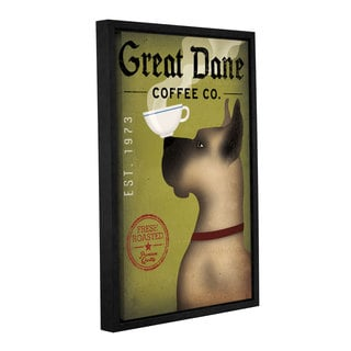 ArtWall Ryan Fowler's Great Dane Coffee, Gallery Wrapped Floater-framed Canvas