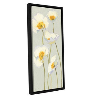 ArtWall Shirly Novak's White On White Poppies II, Gallery Wrapped Floater-framed Canvas