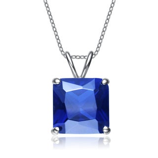 Collette Z Sterling Silver Blue Cubic Zirconia Rhodium Plating Clear Pendant