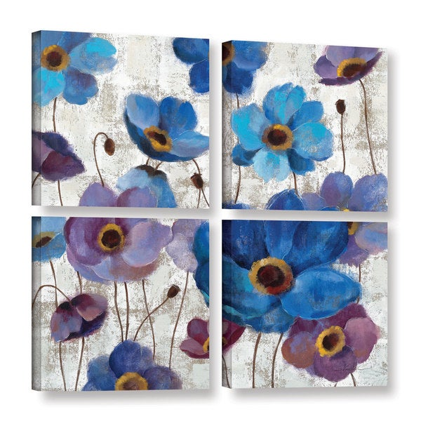 ArtWall Silvia Vassileva's Bold Anemones I, 4 Piece Gallery Wrapped Canvas Square Set