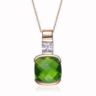 Collette Z Sterling Silver White Cubic Zirconia Gold Plating Clear Green Cubic Zirconia Pendant