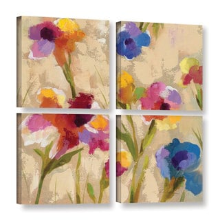 ArtWall Silvia Vassileva's Bold Bright Flowers II, 4 Piece Gallery Wrapped Canvas Square Set