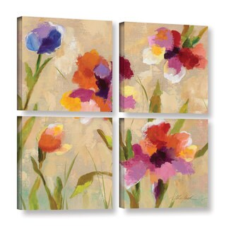 ArtWall Silvia Vassileva's Bold Bright Flowers III, 4 Piece Gallery Wrapped Canvas Square Set