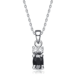 Collette Z Sterling Silver White Cubic Zirconia Rhodium Plating Clear and Black Cubic Zirconia Pendant