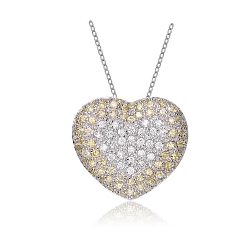 Collette Z Sterling Silver White and Yellow Cubic Zirconia Gold Plating Clear Pendant