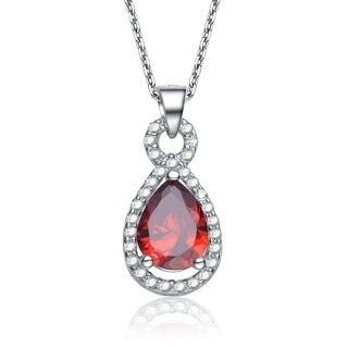Collette Z Sterling Silver White Cubic Zirconia Red Cubic Zirconia Pendant