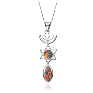 Collette Z Sterling Silver Yellow Green Orange Red Cubic Zirconia Pendant