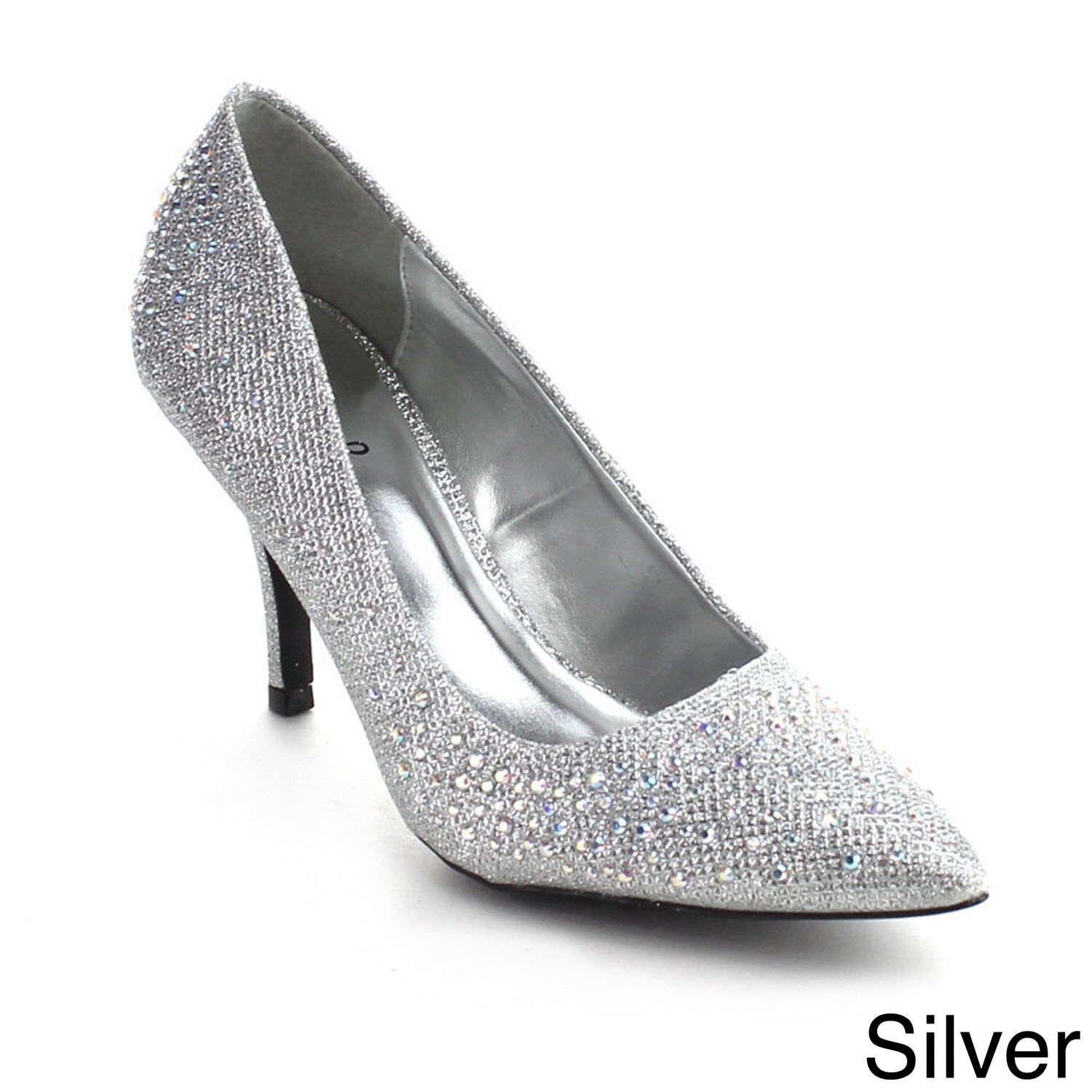 Color:BLACK Size:5.5 Qupid SAFFIR-08 Womens Glitter Jeweled Pointy Toe Stiletto Pump