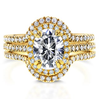 Annello by Kobelli 14k Yellow Gold 2 1/4ct TCW Oval Moissanite and Diamond Halo 3-Piece Bridal Rings