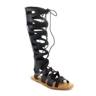 BAMBOO BAYSIDE-14S Women's Lace Up Gladiator Flat Sandals