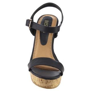 Beston EA48 Women's Classic Platform Toe Strap Wedge Dress Sandals